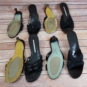 Donald Pliner 8 Black Blue Sandal Heels Bundle Lot